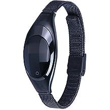 AIWatch Mujer metal presión arterial medir la frecuencia cardíaca pruebas bluetooth reloj inteligente sincronización de bandas para LG / IPHONE / Samsung / HTC / HUAWEI Android y teléfono móvil IOS (Negro)
