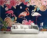 BHXINGMU Kundenspezifische Wandbilder Botanische Blumen Und Flamingos Große Wanddekoration Für Tv-Sofa-Hintergrund 150Cm(H)×200Cm(W)