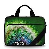 Silent Monsters Canvas Schutzhülle mit Zubehörfach 39,6 cm (15,6 Zoll) für Laptop grün Hedgehog