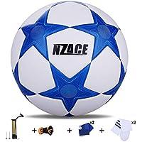 NZACE Pelotas de fútbol deportes al aire libre práctica Pro balón de fútbol tamaño 5Top nivel rendimiento incluye bomba y transporte red, azul