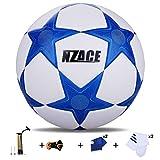 NZACE Soccer Balles de sports de plein air Practise Pro Ballon de foot Taille 5Performance de niveau supérieure Pompe incluse et filet de transport, bleu