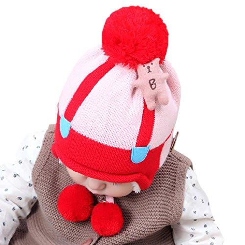 URSING Baby Jungen Mädchen Beanie Bär Baumwolle Hut Kinder Drucken Stricken Hüte Haarball Pelzkugel gestrickt Winter Warme Mütze Cap 1-3 Jahre alt (E) (Minions Girl Kostüme)
