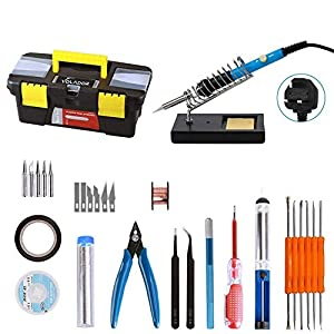 Soldering Iron Kit, Volador 30-in-1 60W Temperature Control Solder Iron, 5pcs Soldering Tips, Desoldering Pump, Tweezers, Wick, Soldering Iron Stand with Cleaning Sponge and Tool Case from Volador Technology Co.,Ltd