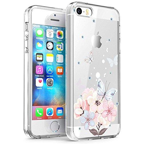 RXKEJI iPhone 5 Hülle, iPhone 5S Hülle, Handyhülle TPU Silikon Weiche Clear Schutzhülle Transparent Flexibel Case Handy Hülle für Apple iPhone 5 5S SE - Pink Butterfly Flower Pink Butterfly Handy
