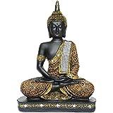 Karigaari India Buddha Idol Statue Showpiece- Orange and Black (10 Inches x 7 Inches)