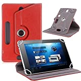 Connect Zone® Universal 10 inch 360° Rotating Red Premium PU Leather Various Design Stand Folio Case Cover Fits All Android Tablets Devices