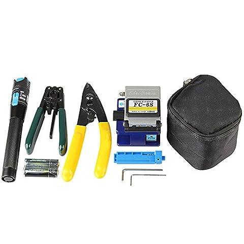 DAXGD Outil fibre optique 5 en 1 FTTH épissure Fibre Optique Kits d'outils Décapant de fibre FC-6S Fibre Cleaver Localisateur Visuel de défaut