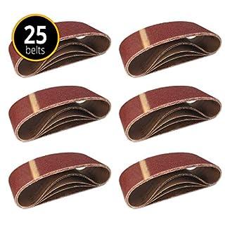 25 Stück Schleifbänder 75 x 533 mm Körnung je 5 x 40/60 / 80/120 / 180 für Bandschleifer/Gewebe-Schleifbänder