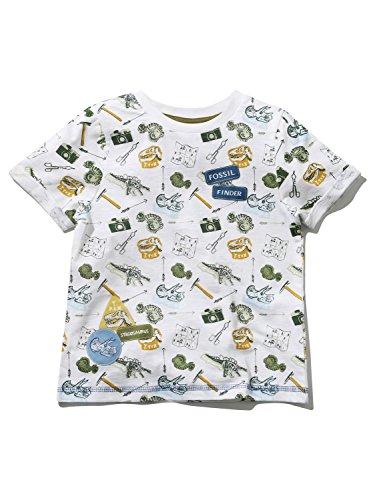 Natural History Museum Kids Short Sleeve Crew Neck Dinosaur Fossil Print Badge Applique T-Shirt