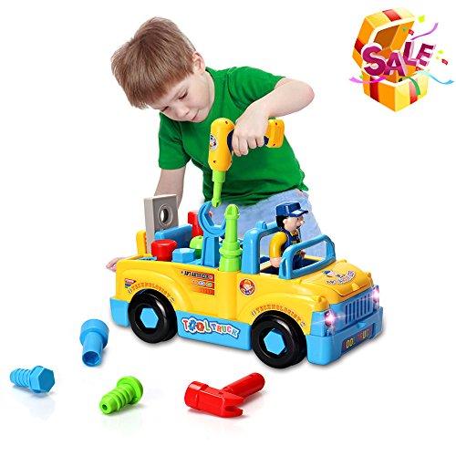 Baby Spielzeug multifunktionale Konstruktion auseinander nehmen Spielzeug-Spielzeug Werkzeug Lastwagen für Kinder Spielzeug 3+mit Bohrmaschine und Elektrowerkzeuge für Montage,Musik und Beleuchtung,Beule und los! (Zug Kostüme)
