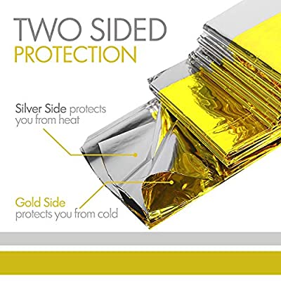 VOLGA 10-Pack Emergency Foil Mylar Thermal Blanket, Gold/Silver Space Blanket: Designed for Essentials for Outdoors - Hiking, Survival, Marathons or First Aid by VOLGA