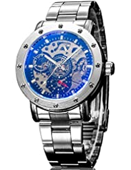Alienwork IK Reloj Automático esqueleto mecánico Metal negro plata 98530S-03