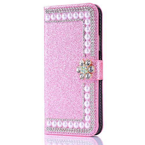 Custodia per iPhone 5 5S SE 4 Cover in Pelle Portafoglio, Funyye Lusso Eleganza [Diamante Perla] Design Incorporare Affascinante Flip Wallet Case Bello Scintillante PU Leather Shell Skin Bumper + 1 x #3 Rosa
