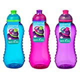 3 Sistema 300ml Twist n Sip Drink Bottles, Blue, Pink, Purple