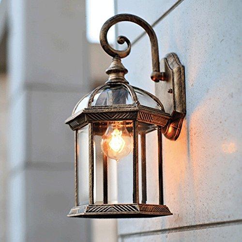 iBalody Retro Outdoor wasserdichte Wand Laterne Licht Antik E27 Garten Wandleuchte Vintage Gang Balkon Innenhof Außen Street Light Wandleuchte (Color : Bronze) -