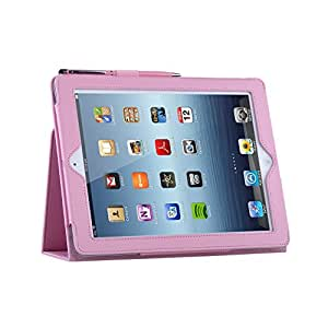TeckNet® New iPad 3 & iPad 2 Premium Folio Case / Cover and Flip Stand & Magnetic Auto-Sleep For New Apple iPad 3rd Generation & iPad 2 - Pink