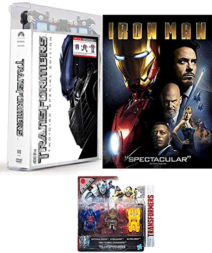 IronRobot Extra Exclusive Transforming Packaging DVD Bundle: Transformers (2 Disc Exclusive 15' Optimus Prime Special Case) & Last Knight Tiny Turbo Changers + Marvel Iron Man 2-Movie Bundle