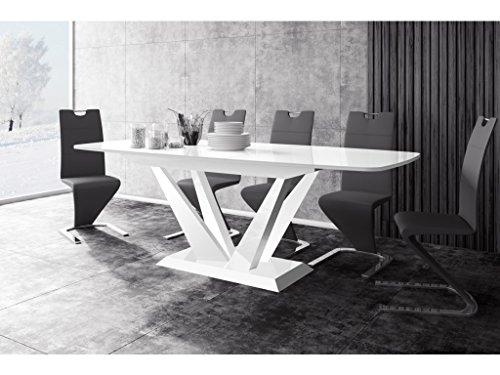 H MEUBLE Table A Manger Design Extensible 160÷260 CM X P : 89 CM X H: 75 CM - Blanc