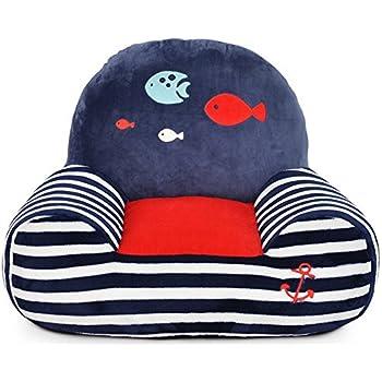 Hollwald Canapé Enfant lit Meuble Fauteuil Coussin Coton Peluche Doux Confortable Animal Aimable (poisson)