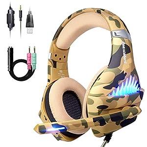 Bequemes PS4-Gaming-Headset, professionelles 3,5 mm Headset mit drehbarem Mikrofon mit Rauschunterdrückung für PS4, Nintendo Switch, Xbox One, PC, Laptop, Mac, Smartphone (Over-Ear und LED-Beleuchtung) camouflage