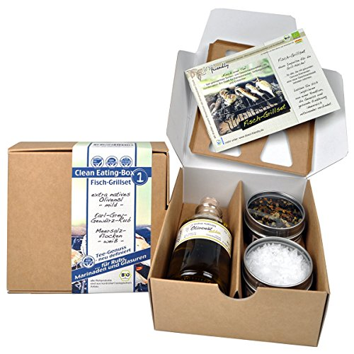 direct&friendly Bio Geschenkset Fisch Grillgewürz Set – Clean Eating Set mit Earl Grey Rub