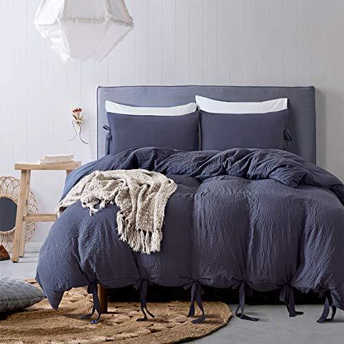 Fire Kirin Luxus Bettbezug Set , Gewaschen Baumwolle Weiche Solid Farbe Bettbezug mit Schleife Bändern Design 3-Teiliges Bettwäsche-Set Queen Dunkelblau (Queen Bettwäsche Dunkelblau)