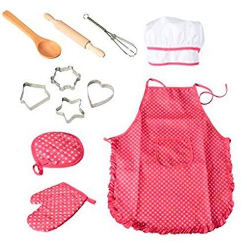 (11-teiliges Koch- und Backset für Kinder, Kochset für Kinder, Küchen- und Spielset mit Schürze für Mädchen, Kochmütze, Kochhandschuh und Utensilien für Kleinkinder, Karriere, Rollenspiele für Kinder)