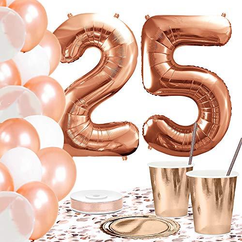 DekoGuru® Partyset in rosé Gold - für 18 Personen (25. Geburtstag)