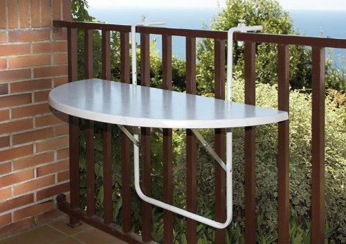 Balkon-Hängetisch 100x 50cm Stahlrohr halbrund klappbar 2Farben