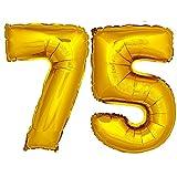 DekoRex® Folienballon Zahlenballon Luftballon Geburtstag Deko 80cm Zahl Gold 75