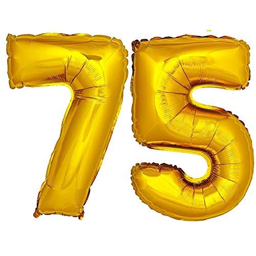 DekoRex® Folienballon Zahlenballon Luftballon Geburtstag Deko 80cm Zahl Gold 75 (Geburtstag 75 Ballons)
