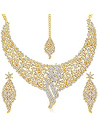 Sukkhi Splendid Gold Plated Wedding Jewellery Austrian Diamond Choker Necklace Set for Women (2103NADM2150-AMZ)