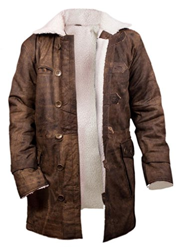 Flesh & Hide F&H Men's Bane Genuine Distressed Leather Shearling Coat L Brown