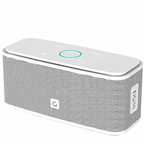 Enceinte Bluetooth 12W, DOSS SoundBox Haut-Parleur Bluetooth Sans Fil Portable,Commande Tactile et Définition Stéréo, 12 Heures d'Autonomie en Lecture,Mains Libres Téléphone, Carte TF Support,Compatible avec IPhone, IPad, Samsung etc.- Blanc