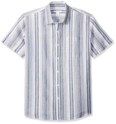 Amazon Essentials Regular-Fit Short-Sleeve Stripe Linen Shirt Chemise boutonnée, Bleu Marine à Rayures, US (XL-XXL)