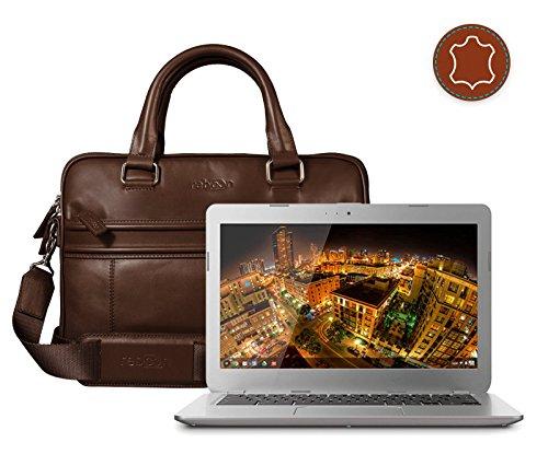 Leder Laptoptasche für Damen/Herren passend für Toshiba Chromebook Intel Celeron 13 3 | Braun -
