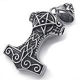 mendino Thors Hammer Pentagramm Amulett Anhänger Herren Edelstahl Silber Schwarz Halskette 55,9cm Kette