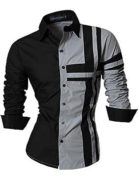 Jeansian Uomo Camicie Maniche Lunghe Moda Men Shirts Slim Fit Casual Long Sleeve Fashion 8397