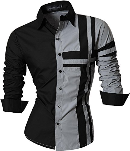 jeansian Homme Chemises Casual Shirt Tops Mode Men Slim Fit Z014 gray
