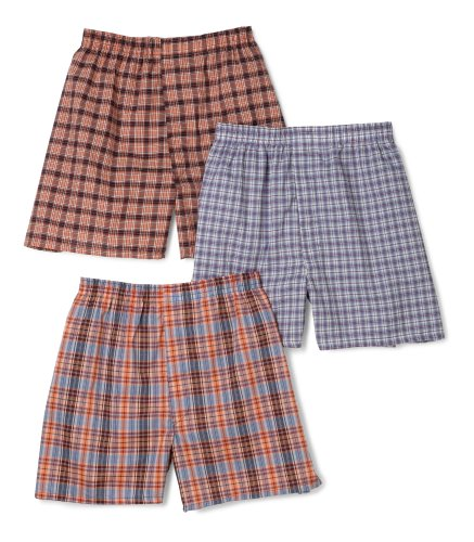 Fruit of the Loom Men's Assorted Tartan Plaids Woven Boxers(Pack of 3)