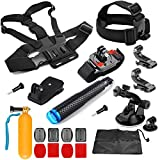 SHOOT 21-in-1 Kit Capo Toracica Cup + Monopiede + Wrist Strap + Aspirazione + Clip del Cappello + Float Bar + Kit Piatto / Curvo Mount + Pouch Accessori per GoPro 7 Nero Argento Bianca/6/5/4/3+/3/2/HERO(2018)/Fusion