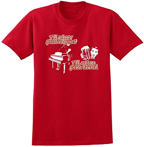 Piano Play For A Pint - Red Rot T Shirt Größe 87cm 36in Small MusicaliTee (Wurlitzer Electric Piano)