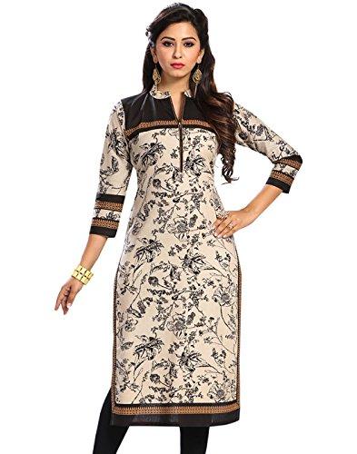 Jevi Prints Women's Cotton Unstitched Kurti Fabric(Saheli-1515_Beige Free Size)