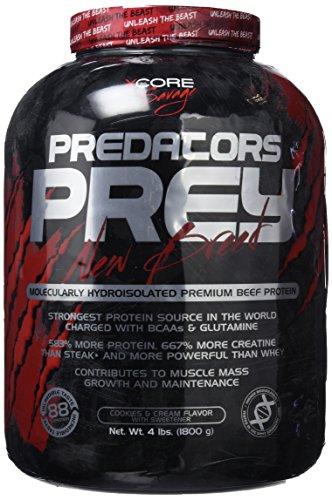 Predators Prey Pure Beef Protein Powder 1800 g: Sabor a galletas y crema – Suplemento de carne hidroaislado molecularmente de primera calidad con 36 g de proteína por dosis. ¡Ideal para musculación!