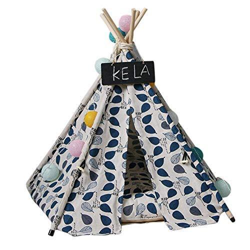 Decke Matratze Bett Haustier Tipi Hund Katzen Kaninchen Bett Leinen Tragbar Haustier Zelte Häuser mit Kissen - Blau, 40cm*40cm*50cm rutschfest Hygienisch Abwaschbares -