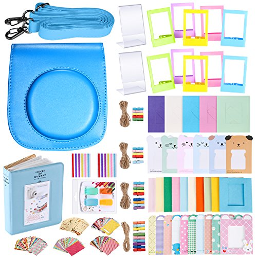 Neewer 56-in-1 Accessory Kit for Fujifilm Instax Mini 70 (Blue), Includes: Camera Case with Adjustable Strap, Various Frames, Book Album, Color Filters, Corner Stickers, Photo Instant Films Stickers