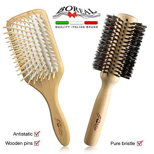 Antistatische holz bürsten. Rundbürste und paddle-brush. Hairbrushes set, antistatic natural wood brush. -