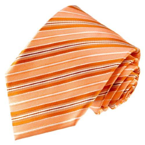 LORENZO CANA - Marken Krawatte aus 100% Seide gestreift Lachs Hummer Orange Apricot - 84550