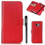 [2 in 1] Galaxy S7 Edge Hülle Rot,Handyhüllen Samsung Galaxy S7 Edge,BtDuck Hülle Leder Flip Wallet Cover mit Magnetverschluss Kartenfach Schutzhülle für Samsung Galaxy S7 Edge Hülle Silikon