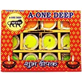 Grasme® Set Of 12 Made In India Handmade A-one Diyas Wax Filled Candles For Diwali Pooja (Pack Of 12, 24 X 18 X 2 Cm) (RoundShape)